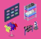 Les marchandises plates isométriques du concept 3D pour les sports font des emplettes Photo stock