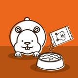 Les mascottes avec magasin de bêtes les icônes réglées illustration de vecteur