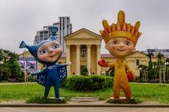 Les mascottes des jeux d'hiver de Paralympic Photos stock