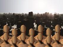 Les masses masculines sans visage avant des ruines illustration de vecteur