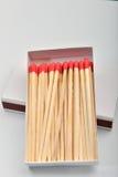 Les matchs principaux rouges dans un blanc ont ouvert la boîte sur le fond blanc Images libres de droits