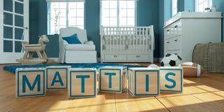 Les mattis de nom écrits avec les cubes en bois en jouet chez la pièce du ` s des enfants Images libres de droits