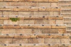 Les mauvaises herbes se développent sous une rangée de l'allocation des places en pierre de théâtre dans des ruines antiques photos stock