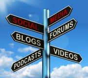Les medias sociaux signalisent l'information d'expositions illustration stock