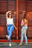 Les meilleures amies sont habillées dans le style de la fille Pin- Images stock