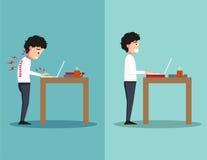 Les meilleures et plus mauvaises positions pour l'ordinateur portable debout d'utilisation illustration stock