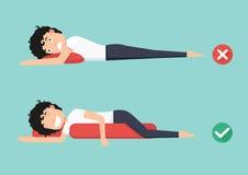 Les meilleures et plus mauvaises positions pour le sommeil illustration libre de droits