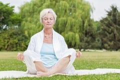Les meilleures femmes d'ager pratiquant le chi de tai de fourmi de yoga Photos libres de droits