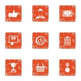 Les meilleures icônes de banquier réglées, style grunge illustration stock