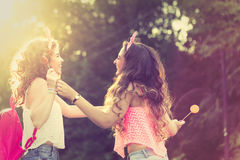 Les meilleures lucettes de part d'amies Coucher du soleil Image stock