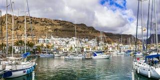 Les meilleures plages de Gran Canaria - marina et ville pittoresques Puerto de Mogan, Îles Canaries photographie stock libre de droits