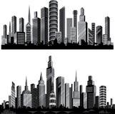 Les meilleures silhouettes de ville de vecteur. Positionnement. Images libres de droits