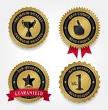 Les meilleurs labels de qualité - d'or Photo stock