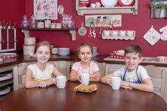 Les meilleurs petits amis se reposant dans la cuisine et le thé potable Image libre de droits