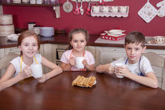 Les meilleurs petits amis se reposant dans la cuisine et le thé potable Photo stock