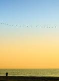 Les Mens accouplent le regard à l'extérieur à la mer Photo libre de droits