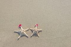 les Mer-étoiles couplent dans des chapeaux de Santa sur le sable Photographie stock