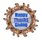 Les mercis heureux donnant sur le cercle en bois d'automne fait à partir de l'arbre brun part images stock