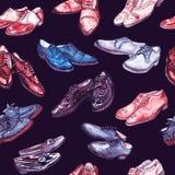 Les messieurs chausse la collection dans la palette de couleurs rose et bleue, modèle sans couture sur le fond noir illustration stock