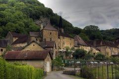 Les Messieurs dos Baume da vila, Borgonha - França imagem de stock