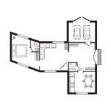 Les meubles de plan architectural de bureau et le dessin d'étude intérieurs modernes de construction projettent Photo stock