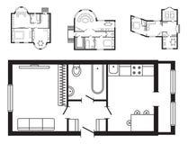 Les meubles de plan architectural de bureau et le dessin d'étude intérieurs modernes de construction projettent Image libre de droits