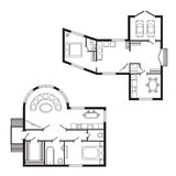 Les meubles de plan architectural de bureau et le dessin d'étude intérieurs modernes de construction projettent Photo libre de droits
