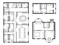 Les meubles de plan architectural de bureau et le dessin d'étude intérieurs modernes de construction projettent Images stock