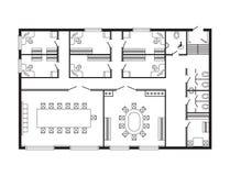 Les meubles de plan architectural de bureau et le dessin d'étude intérieurs modernes de construction projettent Photographie stock