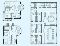 Les meubles de plan architectural de bureau et le dessin d'étude intérieurs modernes de construction projettent Photos stock