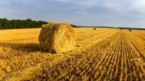 Les meules de foin en automne mettent en place, rural, Russie, Ural Image libre de droits
