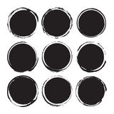 Les milieux abstraits ronds noirs enduit des objets de vecteur d'isolement sur un fond blanc Formes grunges Cadres de cercle Photo stock