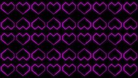 Les milieux de coeur font signe des graphiques comportant le jour de Valentine's ont animé des formes et des particules illustration de vecteur