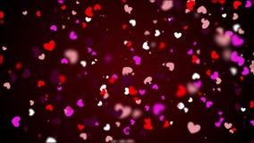 Les milieux de coeur font signe des graphiques comportant le jour de Valentine's ont animé des formes et les particules font un illustration libre de droits
