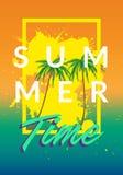 Les milieux de tumblr de la Californie d'été ont placé avec les paumes, le ciel et le coucher du soleil Carte d'invitation d'inse illustration de vecteur
