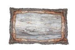 Les milieux en coupe en bois de cadre de tableau écorcent et le textu en bois Image libre de droits