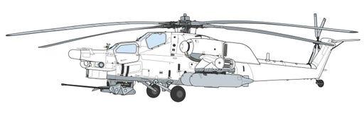 Les militaires de ravage de MI 28 attaquent l'hélicoptère de combat Image libre de droits