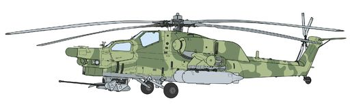 Les militaires de ravage de MI 28 attaquent l'hélicoptère de combat Photo libre de droits