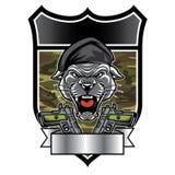 Les militaires de tête de mascotte de panthère de puma symbolisent Photo libre de droits