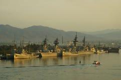 Les militaires expédient le coucher du soleil Photographie stock libre de droits