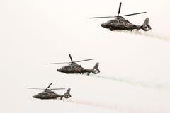Les militaires sauvent des hélicoptères de panthère dans le salon de l'aéronautique photographie stock libre de droits