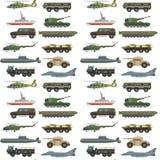 Les militaires transportent les réservoirs de guerre d'armée de technique de véhicule de vecteur et l'arme de transport de la déf Photographie stock