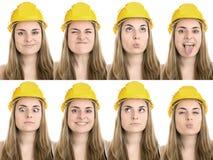 Les mille visages d'un ouvrier manuel Image libre de droits