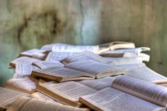 Les milliers de livres s'ouvrent, commencé et non jamais fini Photo libre de droits
