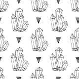 Les minerais noirs et blancs de cristaux bascule le modèle sans couture de vecteur tiré par la main Fond de hippie de triangle av Image libre de droits