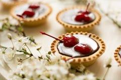 Les mini pouls avec du chocolat et des cerises ont décoré des fleurs de cerisier Photographie stock libre de droits