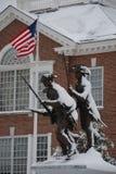 Les Minutemen et le drapeau du Delaware dans la neige Photos stock