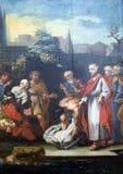 Les miracles attribués à Jésus, Jésus ont guéri l'homme boiteux photographie stock libre de droits