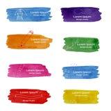 Les modèles abstraits d'aquarelle ont placé avec des icônes pour Logo Design illustration stock