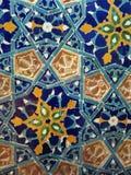 Les modèles bleus de tuiles de fleur de décor de céramique orientale handcraft images stock